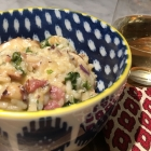 Bacon and Mushroom Risotto with Greens
